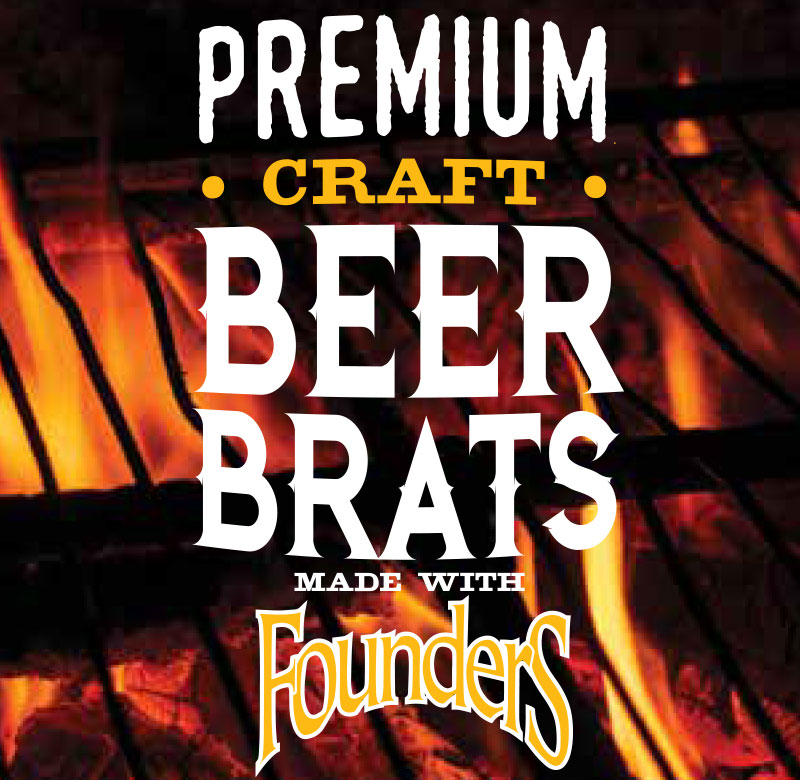 Premium craft beer brats made with Founders