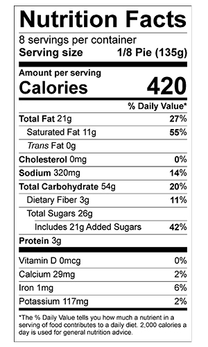 blueberry pie nutrition label
