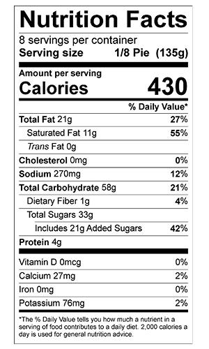 cherry pie nutrition label