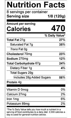 Pecan Pie nutrition label