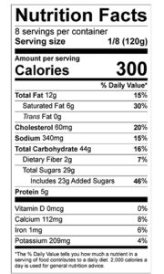 pumpkin pie nutrition label