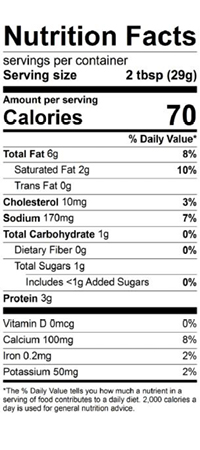 spinach artichoke nutrition label